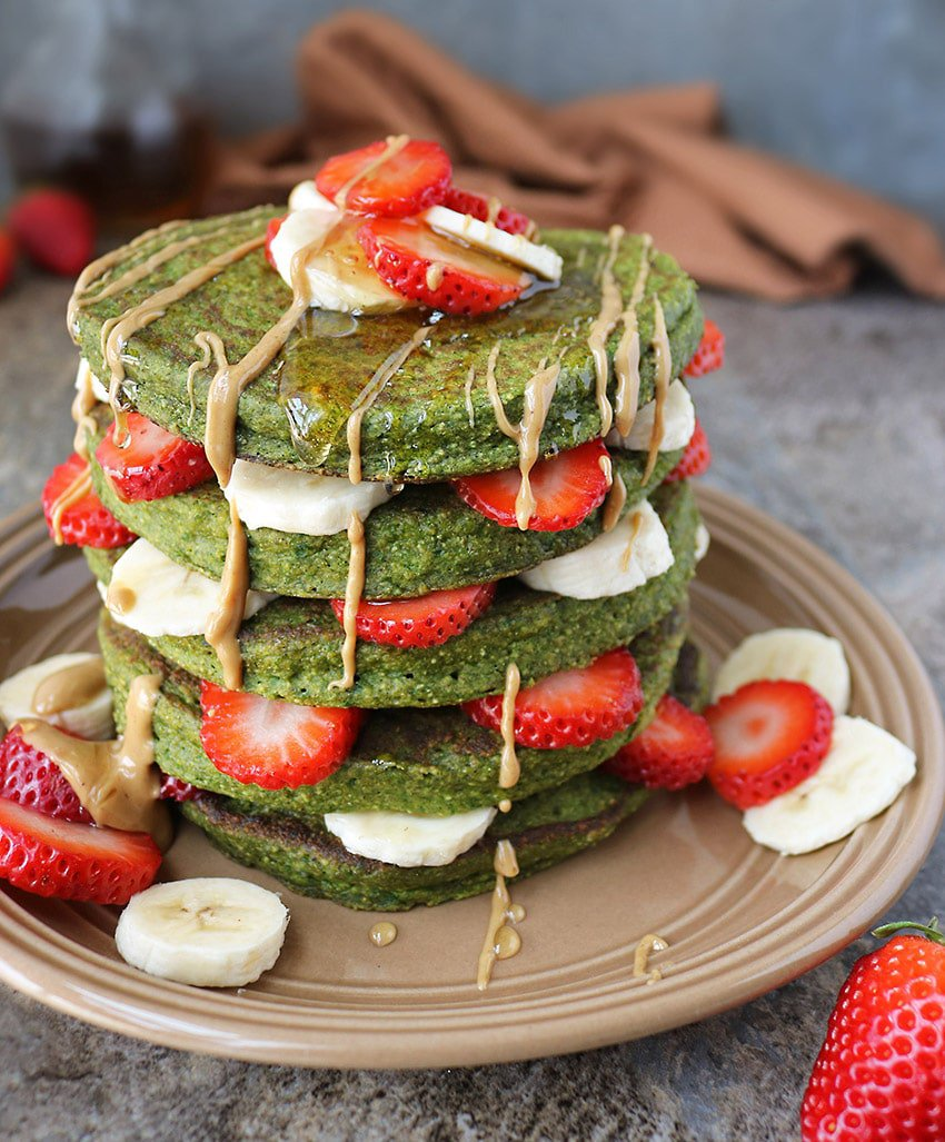 Green Smoothie Oatmeal Pancake Stack