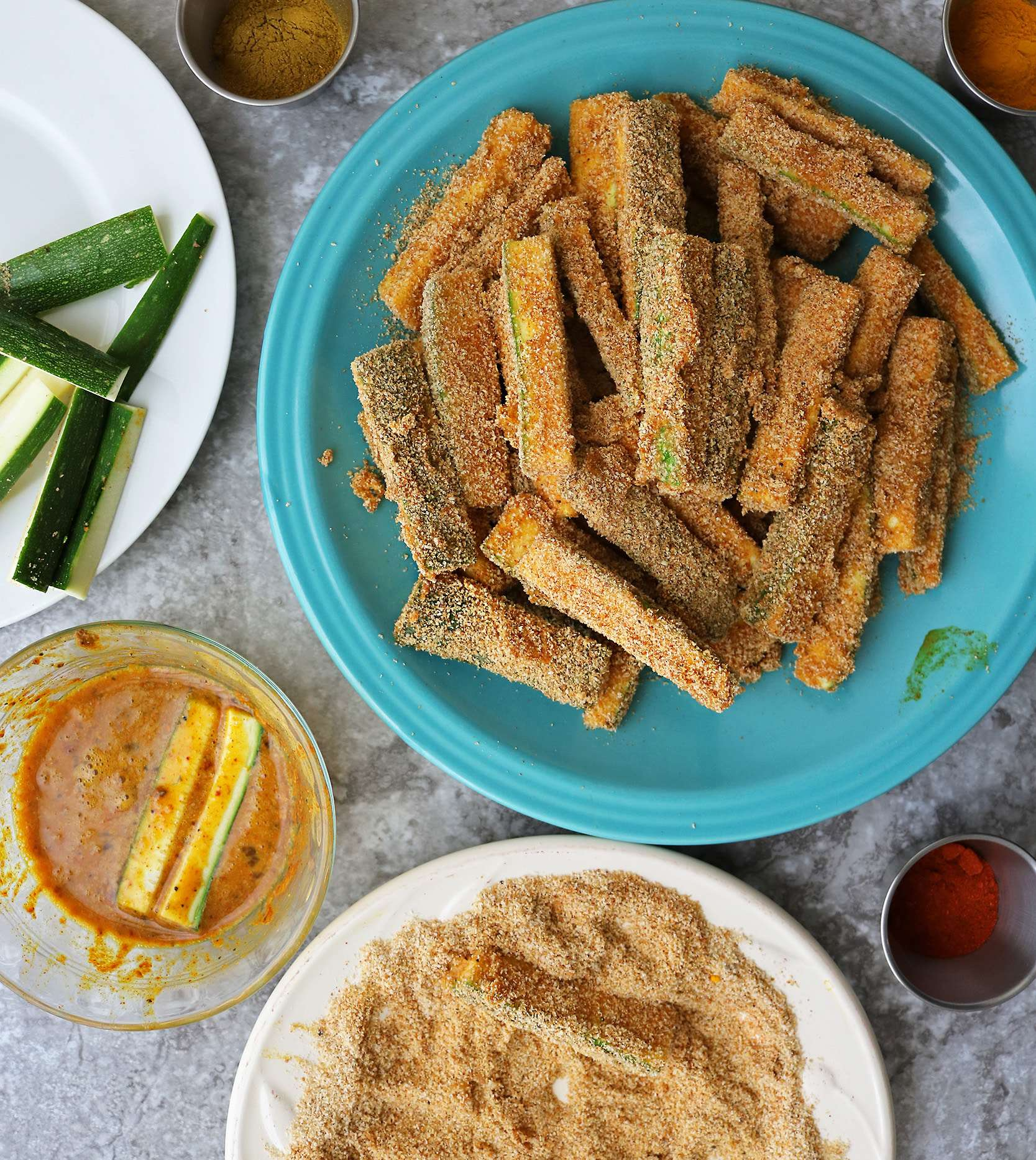 Making Air Fried Zucchini Fries Image