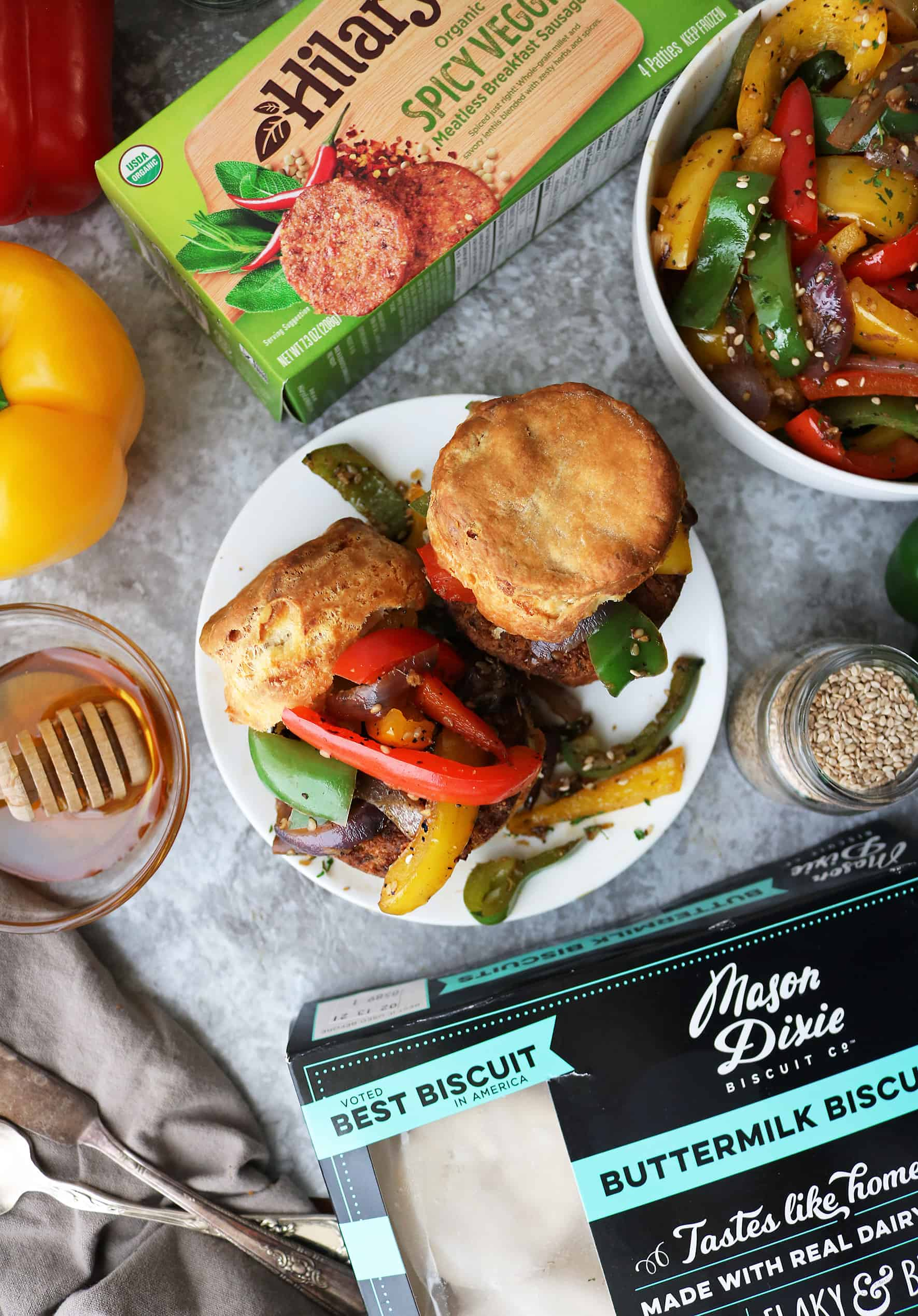 15 Minute Honey Ginger Sesame Veggie Sausage Biscuits. - breakfast for dinner anyone?