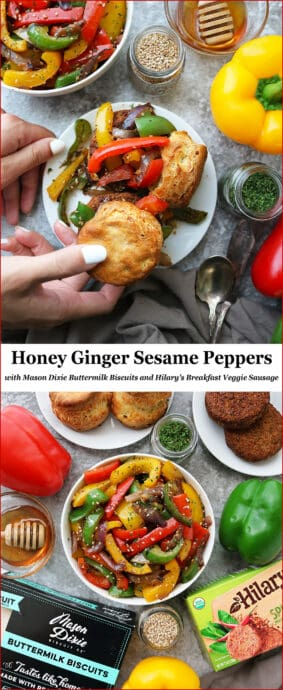 Dinner For Breakfast - 15 Minute Honey Ginger Sesame Peppers
