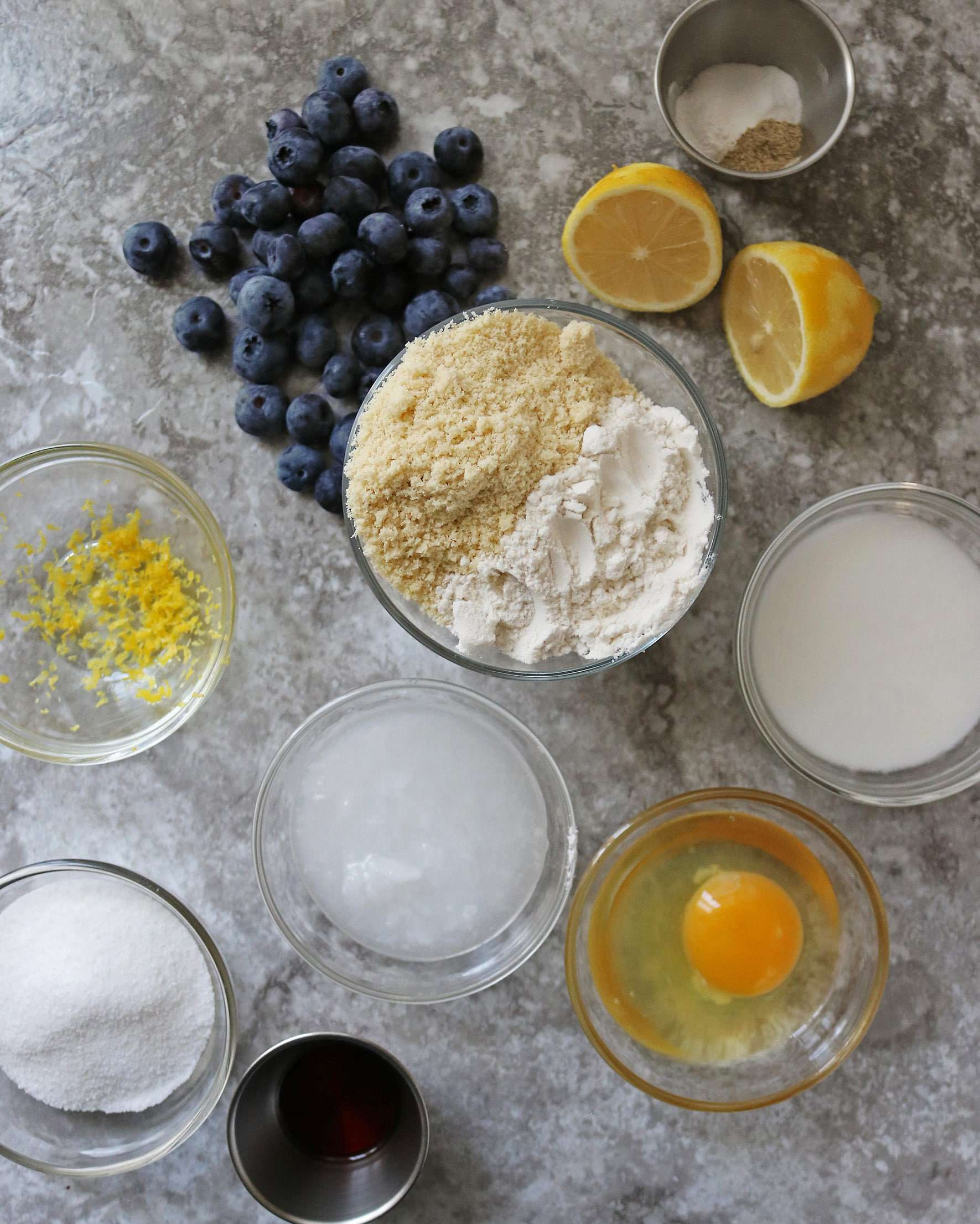 Ingredients to make Gluten Free Lemon Blueberry Muffin Tops Picture