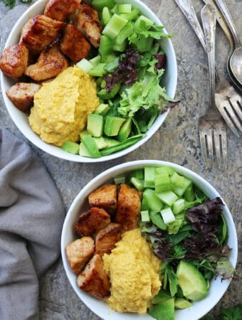 Turmeric Cauliflower And Smithfield Applewood Bacon Pork Tenderloin Bowls for dinner.