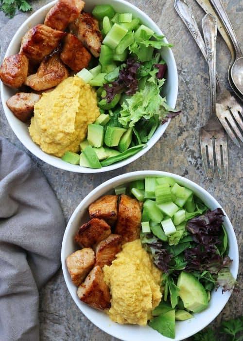 Easy Turmeric Cauliflower Mash Bowls