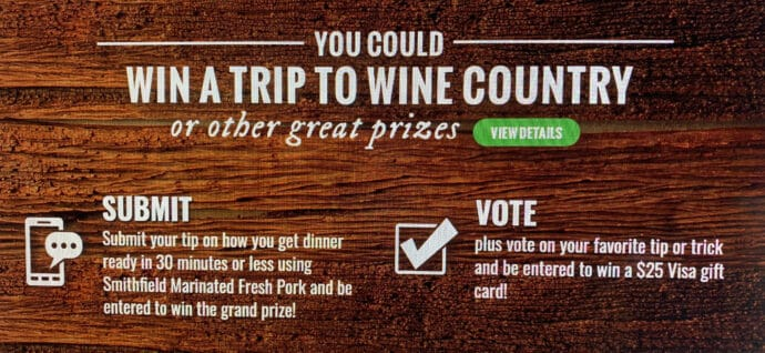 You could win a trip to wine country with Smithfield Marinated Fresh Pork and Gallo Family Vineyard