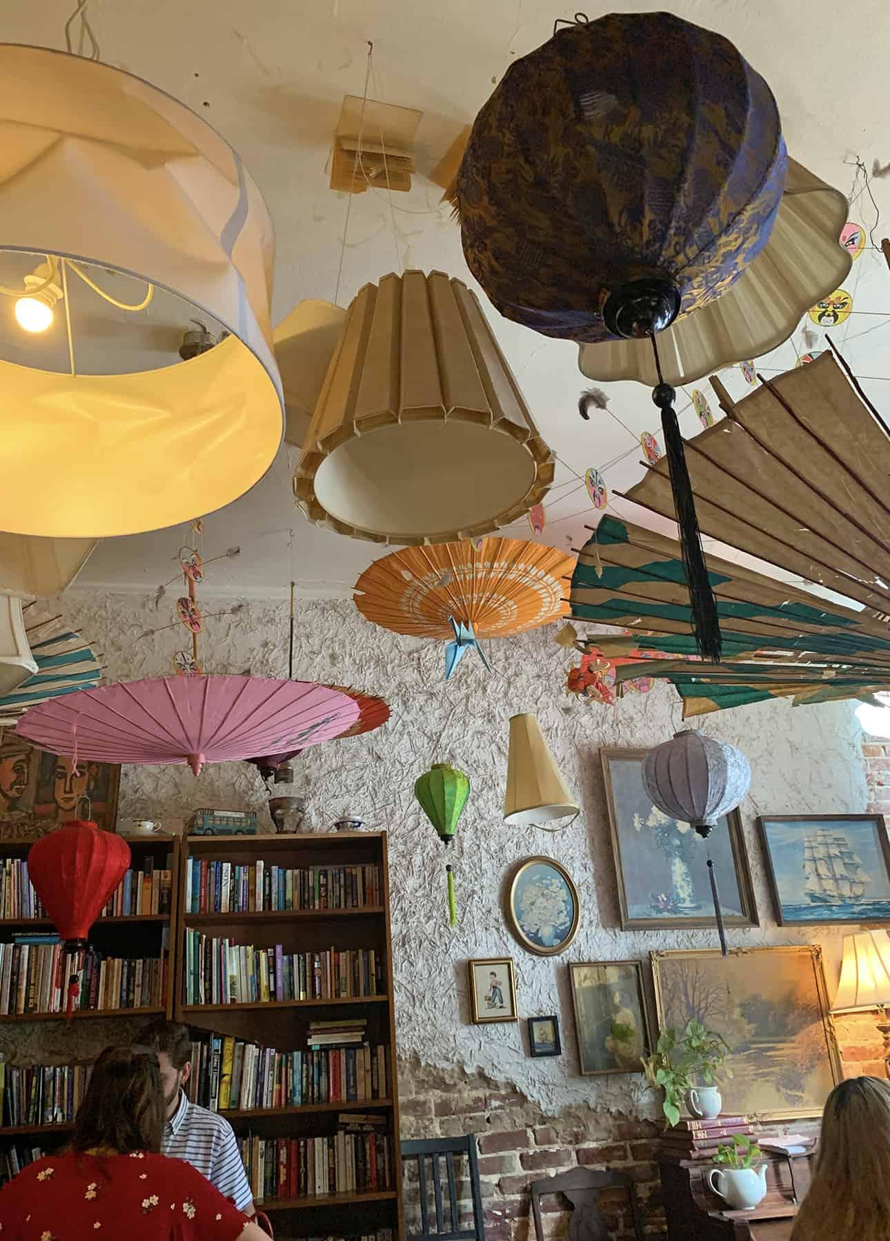 Umbrella roof inside Dr. Bombay's Underwater Tea Party in Atlanta, GA