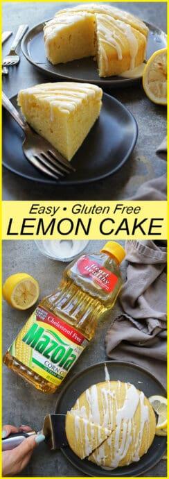 Enjoying A Slice Of Gluten Free Delicious Lemon Cake With Heart Healthy Mazola Corn Oil
