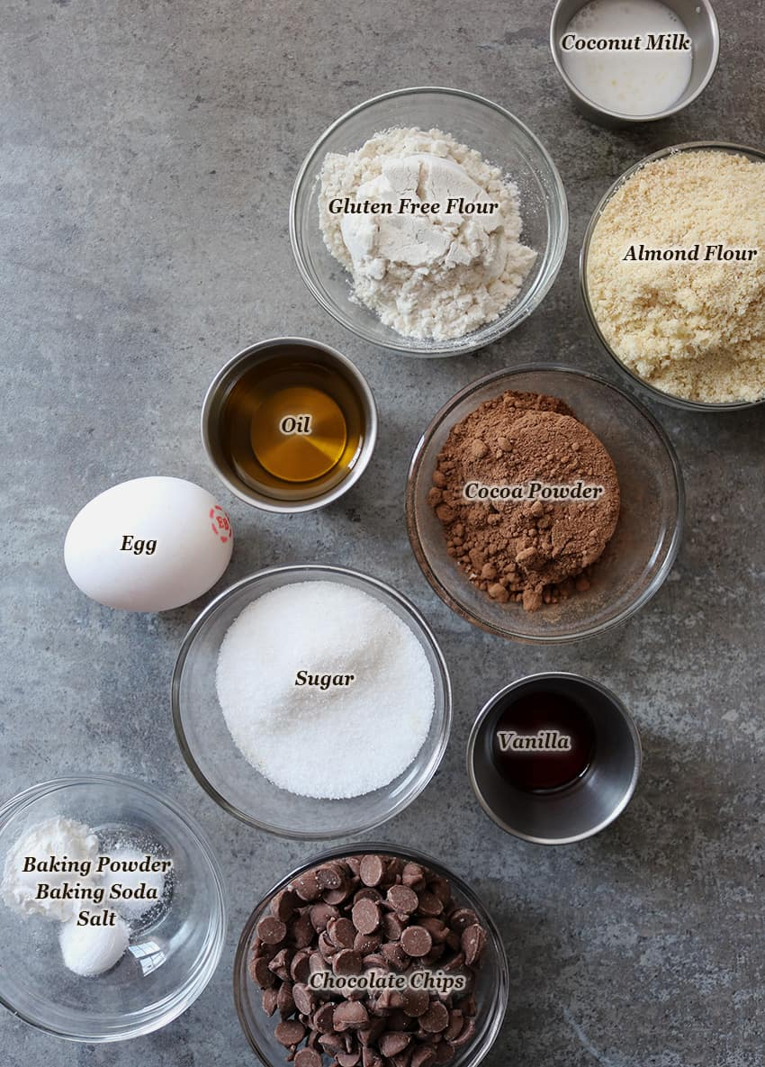 Ingredients for making gluten-free Chocolate Muffin Tops
