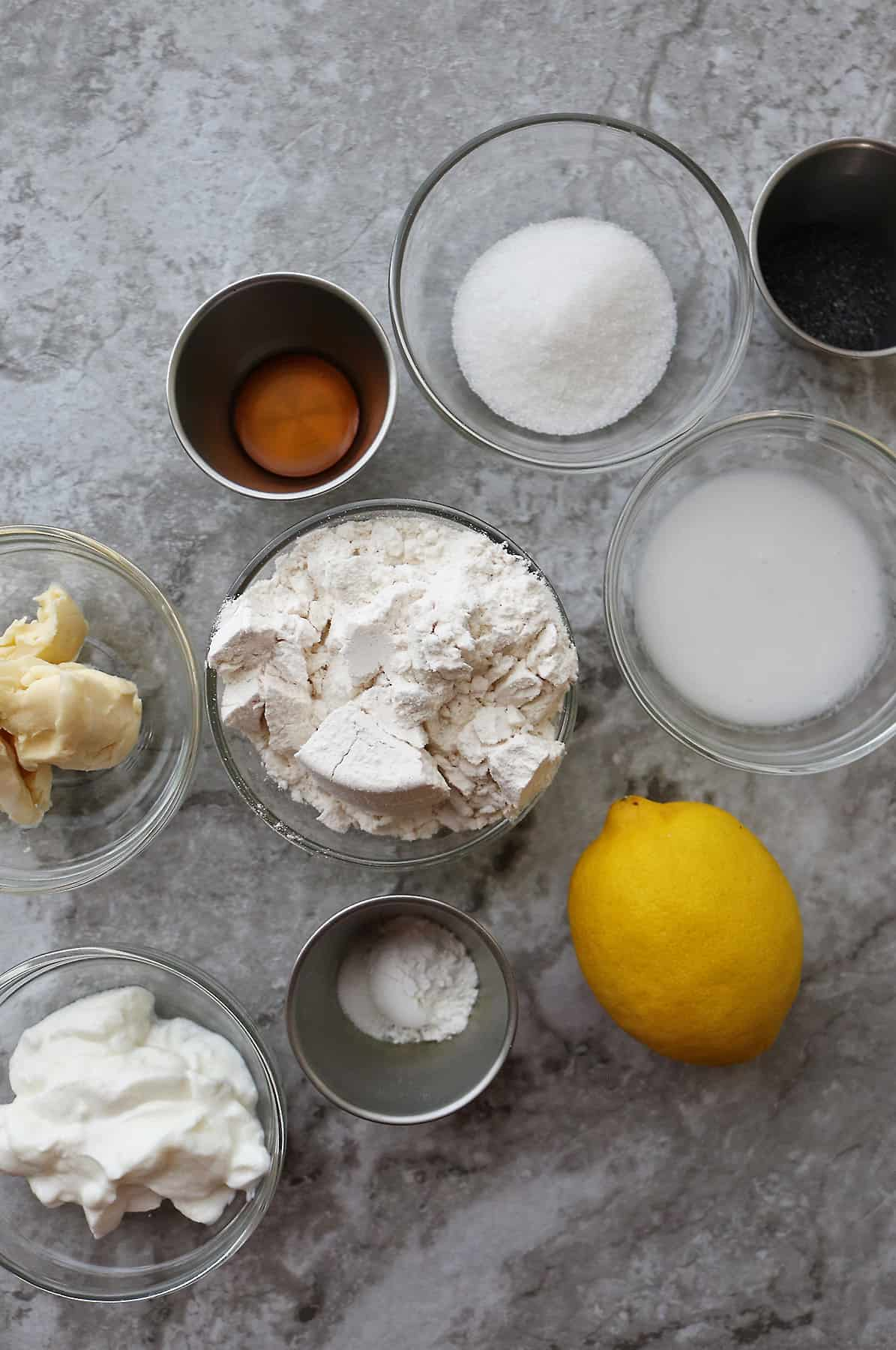Ingredients For Lemon Poppyseed Scones for two
