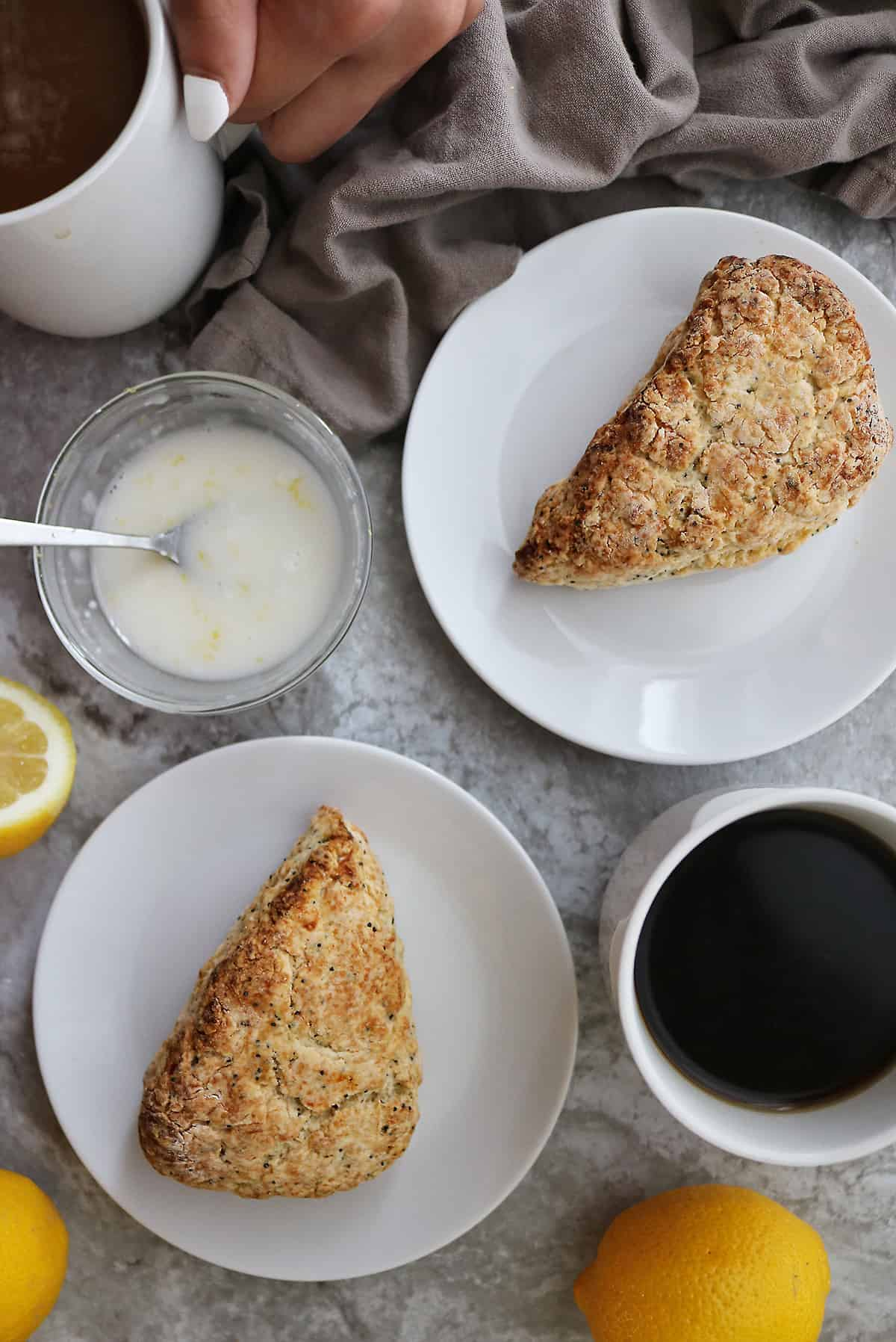 Gluten Free Lemon Poppyseed Scones are safe for everyone to eat. They're even made lactose-free!