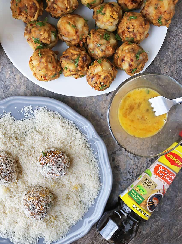 Adding Panko Crust To Chicken Potato Croquettes