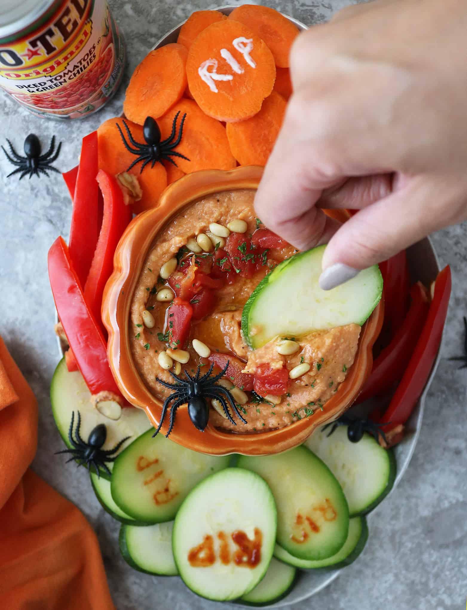 Easy Tomato Hummus For Halloween
