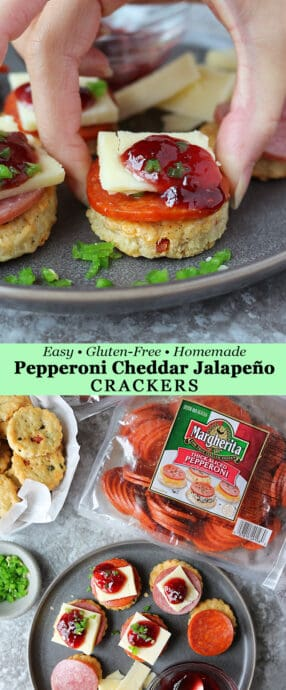 Enjoy Homemade Gluten Free Cheddar Jalapeño Pepperoni Cracker Appetizers This Holiday Season
