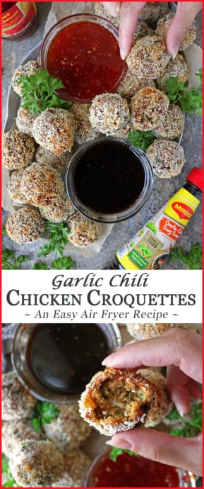 Serve up these flavor-packed, air fried, quick and easy Garlic Chili Chicken Cutlets/Croquettes at your next get-together or whip them up for a movie night or just because