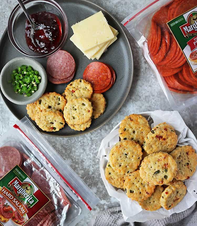Homemade Cheddar Jalapeño Pepperoni Cracker Appetizers