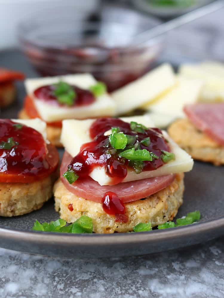 Pepperoni Cheddar Jalapeno Cracker Appetizers for holiday entertaining
