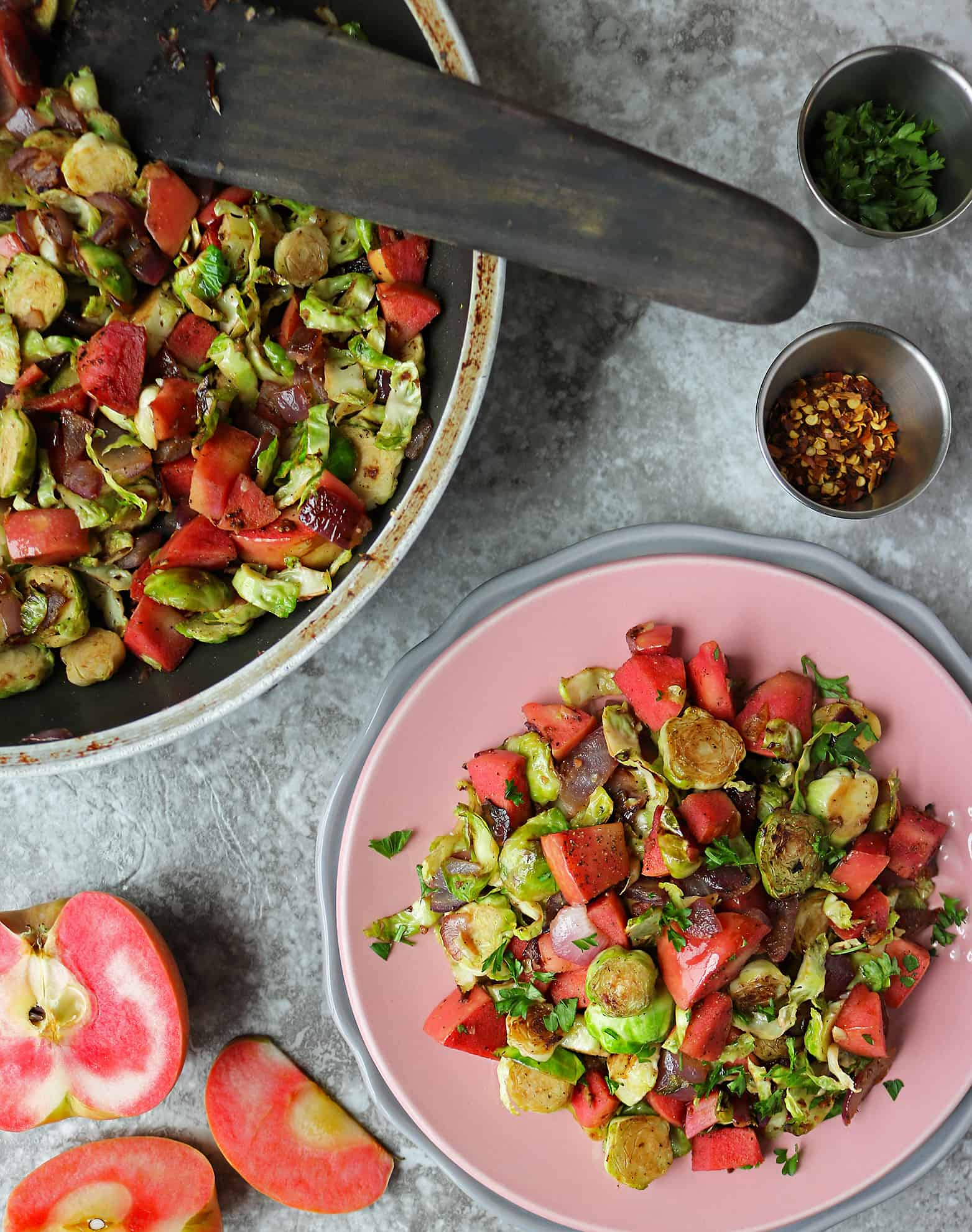 Warm Sautéed Brussels Sprouts And Apple Salad
