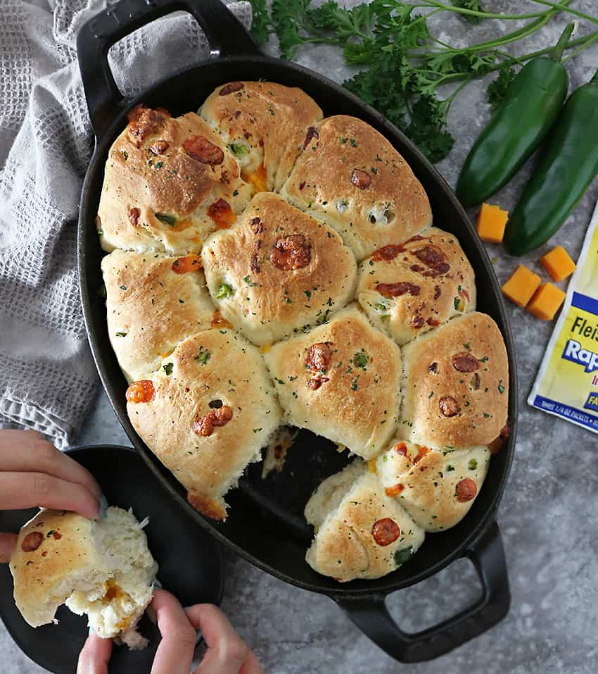Taking a break with Jalapeno Cheddar Parker House Rolls image