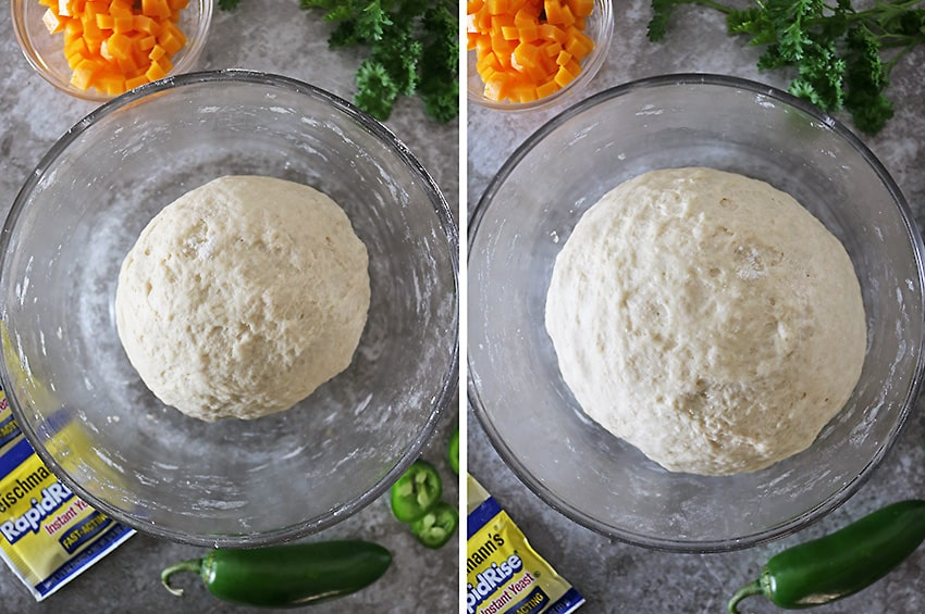 Unrisen and Risen Dough For Parker House Rolls With Cheddar Jalapenos