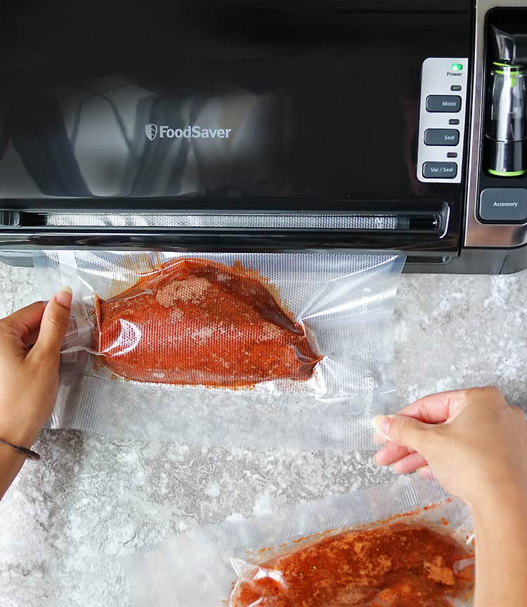 Vacuum Sealing Chili Chicken For Sous Vide cooking