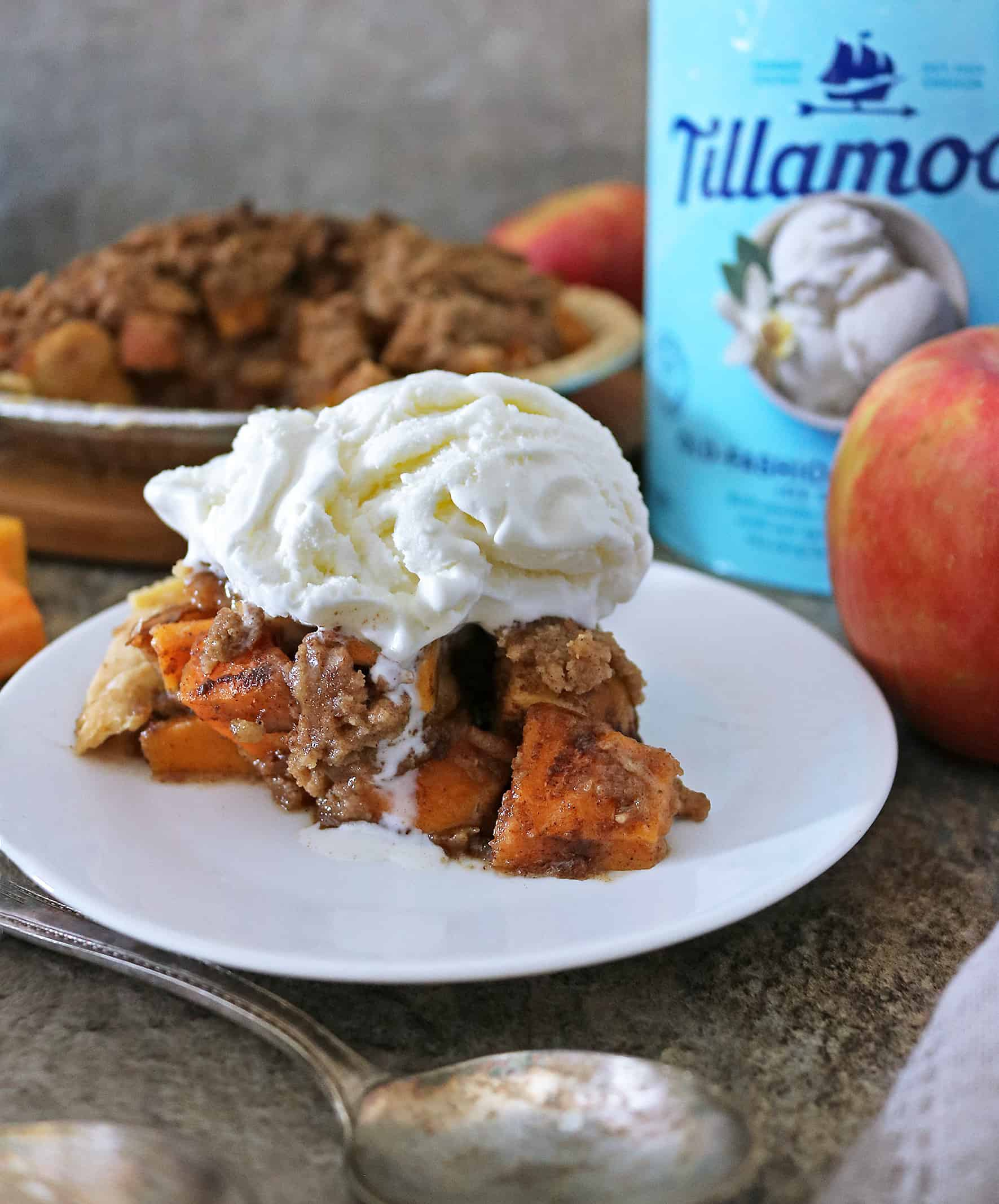 Delicious Apple Crumble Pie with butternut squash and Tillamook For Dessert