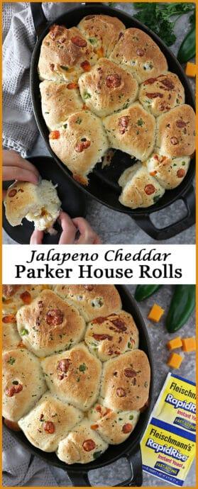 Easy Tasty Quick Jalapeno Cheddar Parker House Rolls