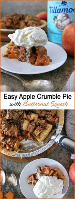 Invitingly warm and aromatic, this Easy Apple Crumble Pie with Butternut Squash is joy at the end of a meal.