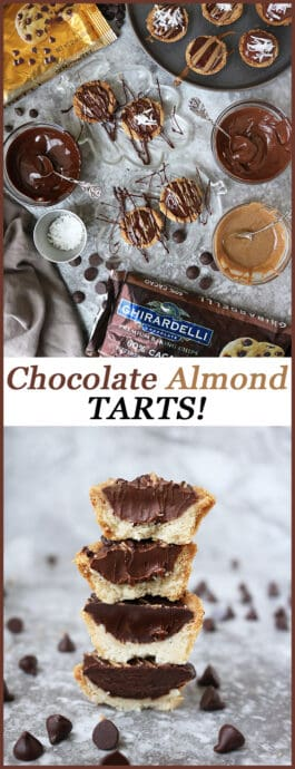 #ad Made with @Ghirardellico Baking Chips these Chocolate Almond Tarts are so easy to make and are decadently delicious. They are an amazing addition to any gathering or whip them up and keep them all to yourself – like I do!