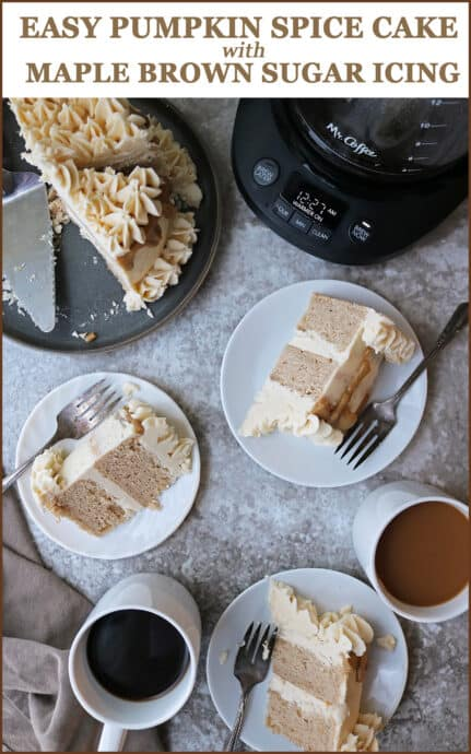 Easy Tasty Pumpkin Spice Cake with Maple Brown Sugar Icing #NewellHomeRefresh-#MyMrCoffeeMoments