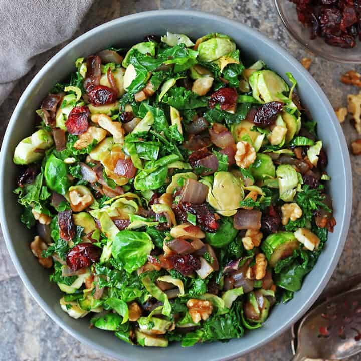 Healthy Holiday Brussels Sprouts Kale Saute With Cranberries and Walnuts