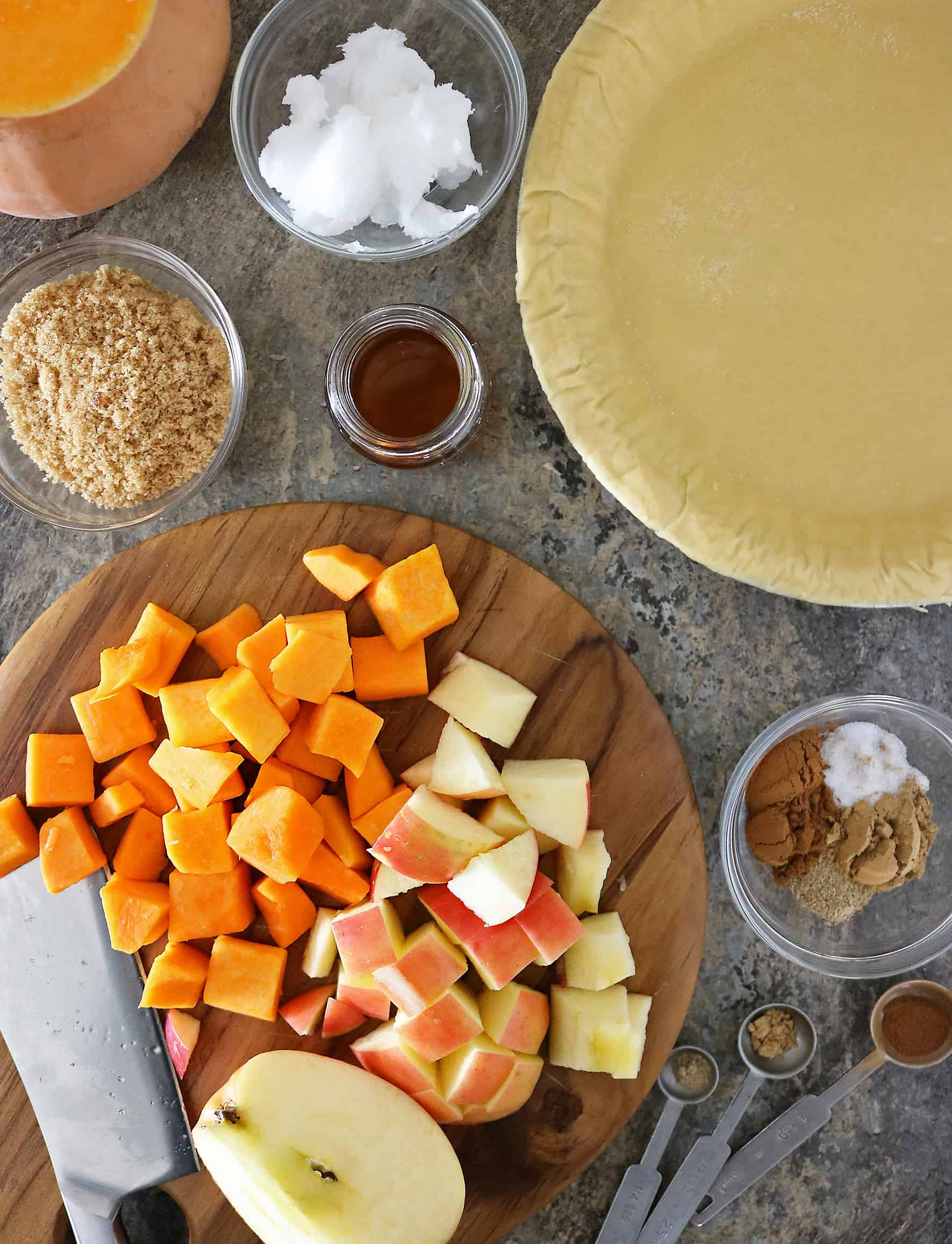 Ingredients For Apple Crumble Pie with butternut squash