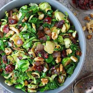 Vegan Brussels Sprouts Kale Saute With Cranberries Walnuts