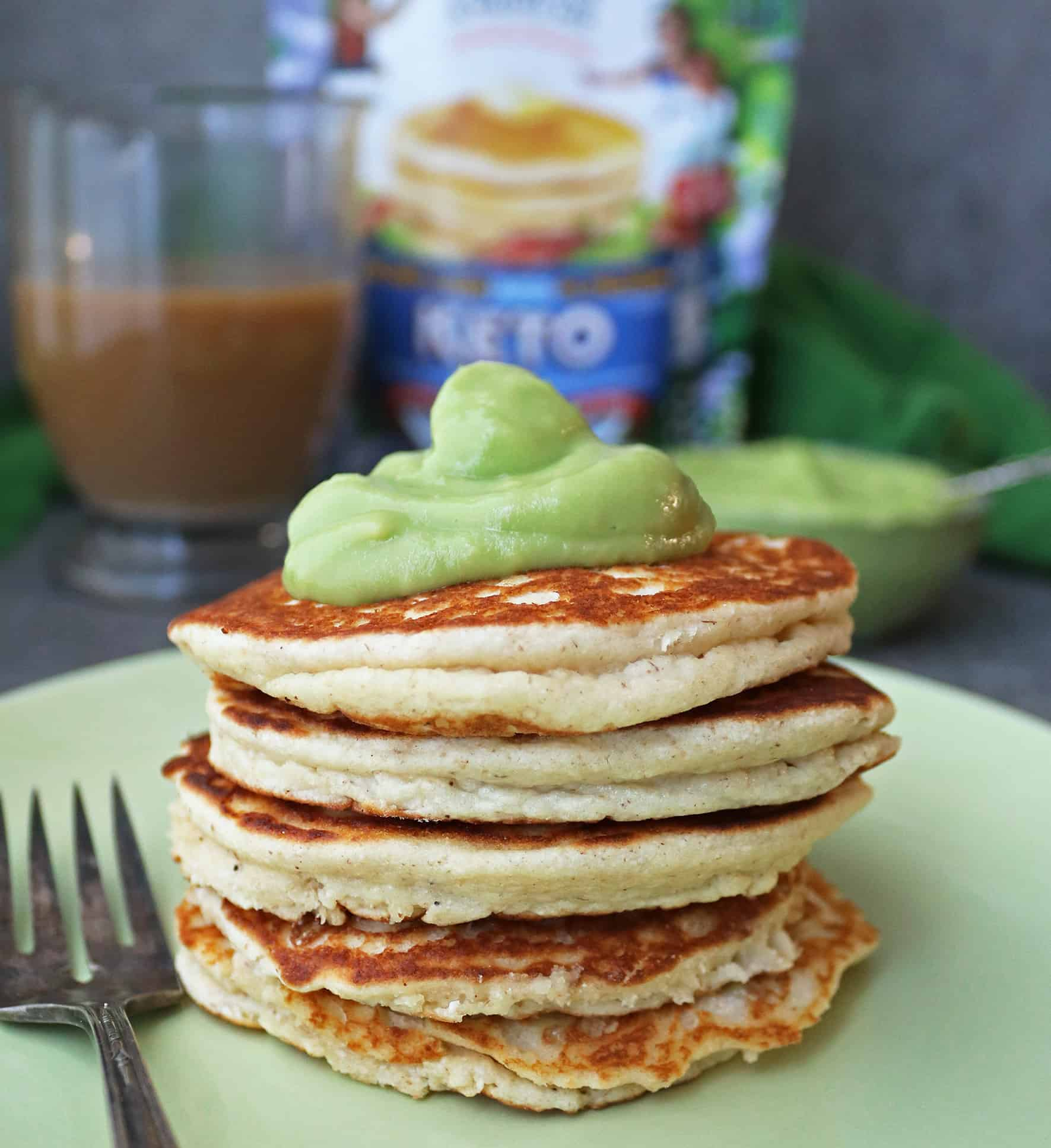 Stack of Birch Benders Keto Waffles with a dollop of sweet keto avocado cream for breakfast