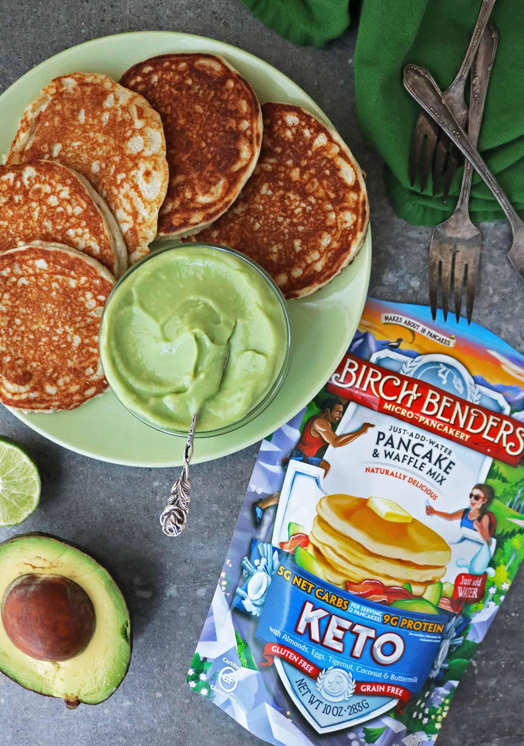 plate of Birch Benders Keto Waffles Withbowl of Sweet Keto Avocado Cream