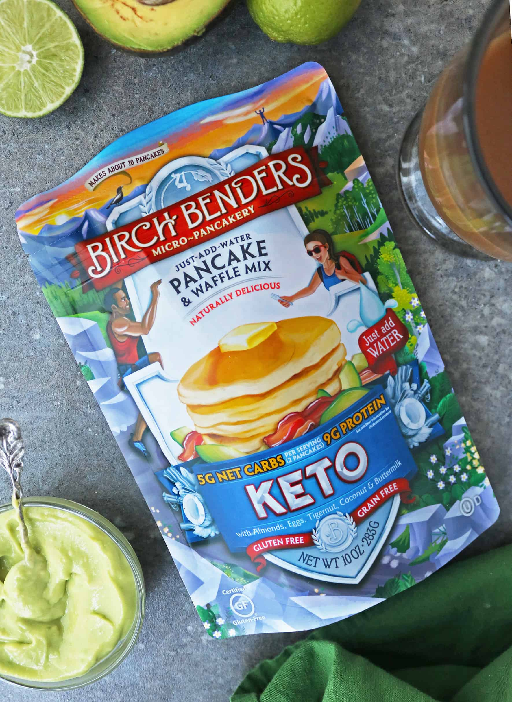 Birch Benders Keto Pancake & Waffle Mix, 10 oz on counter