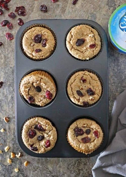 Plant Based Cranberry Walnut Muffins