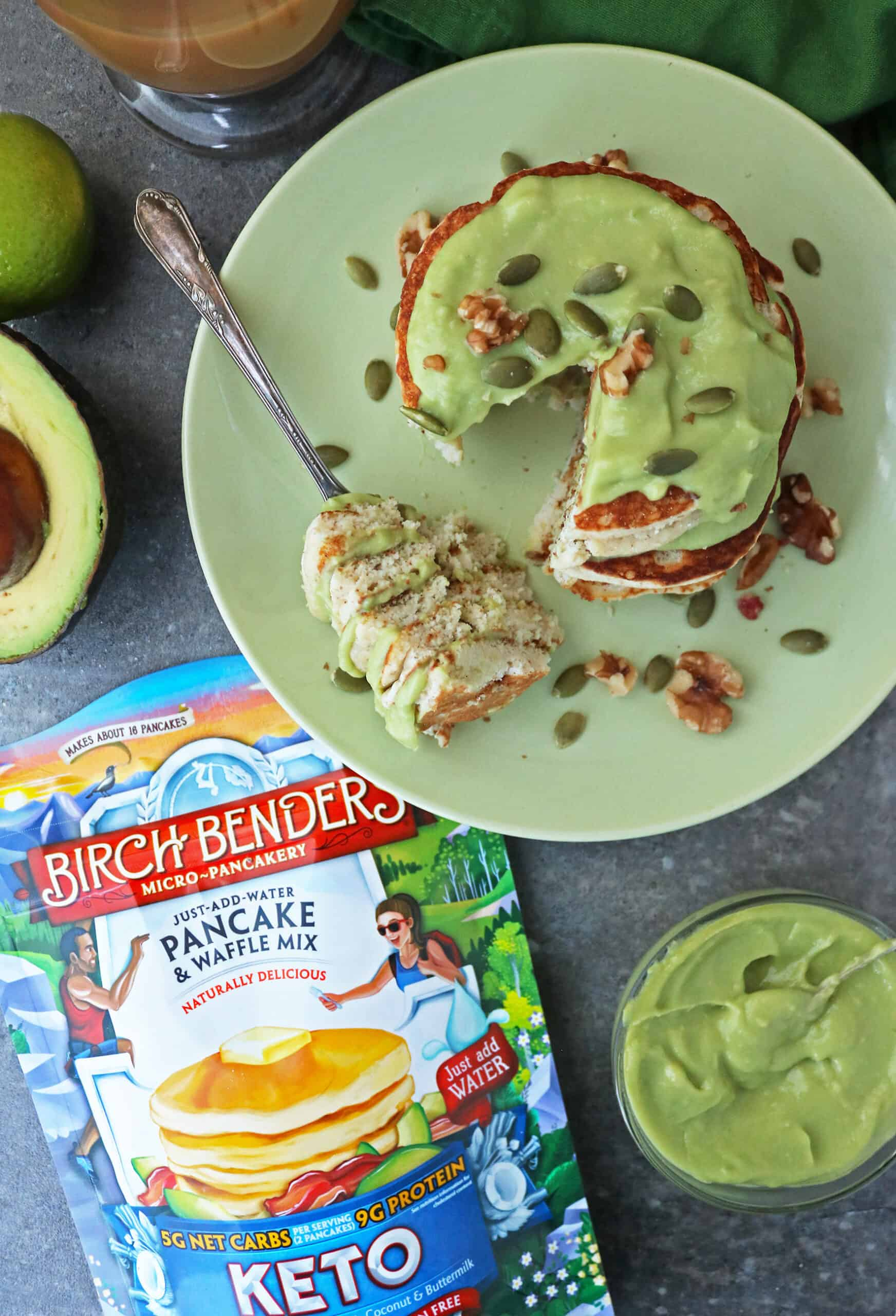 Enjoying a forkful of Birch Benders Keto Waffles With Sweet Keto Avocado Cream