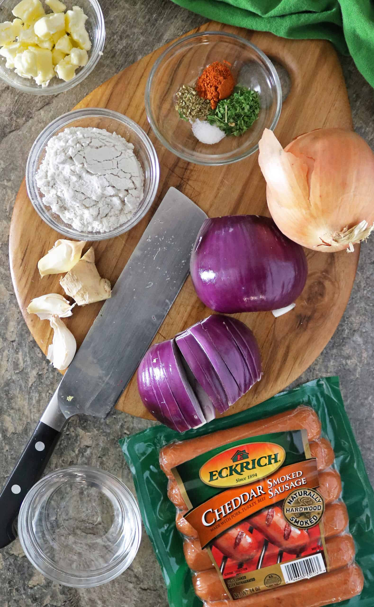 Ingredients For Easy Onion Sausage Tart
