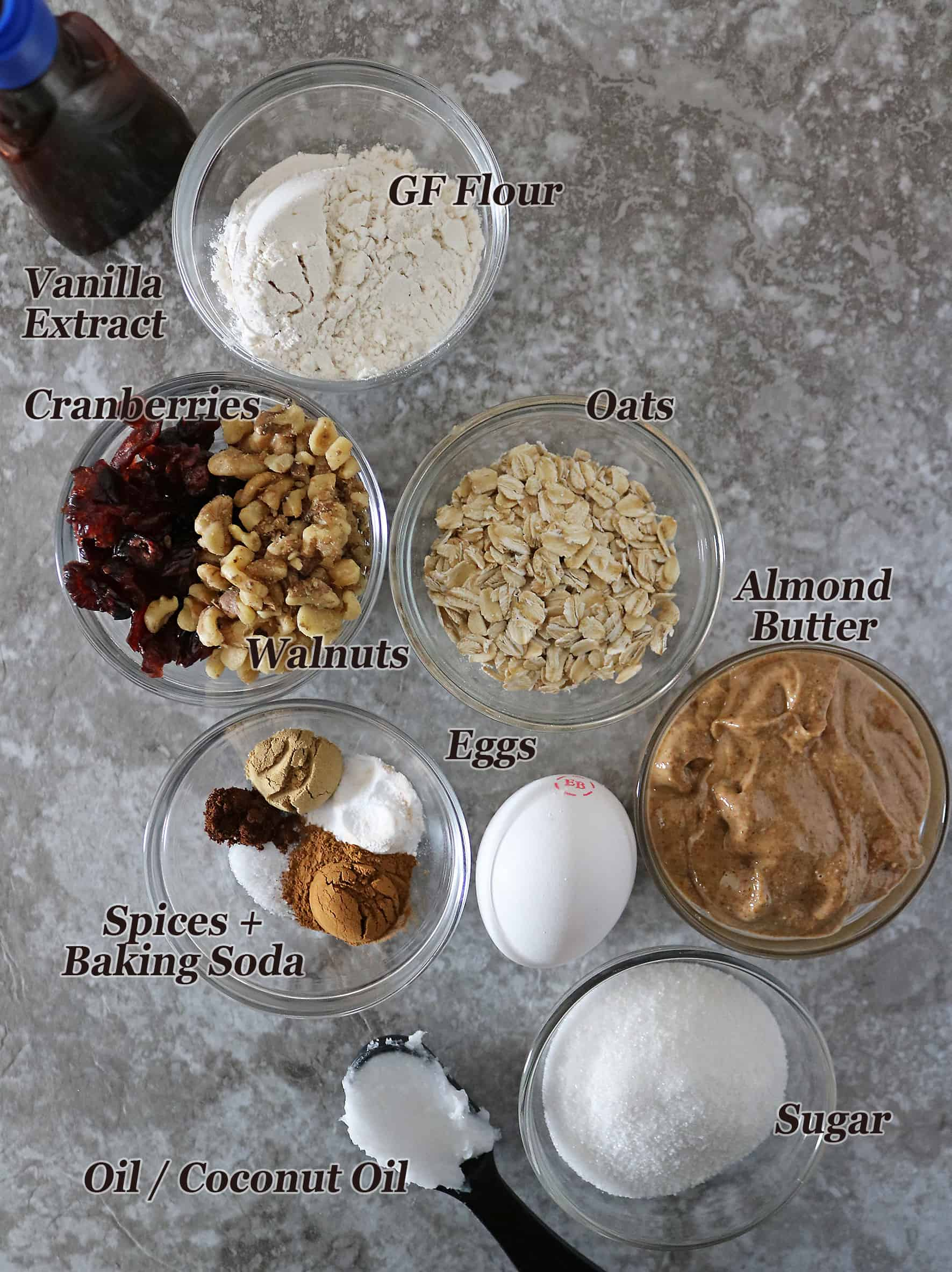 Ingredients for Oatmeal Cranberry Cookies for holidays