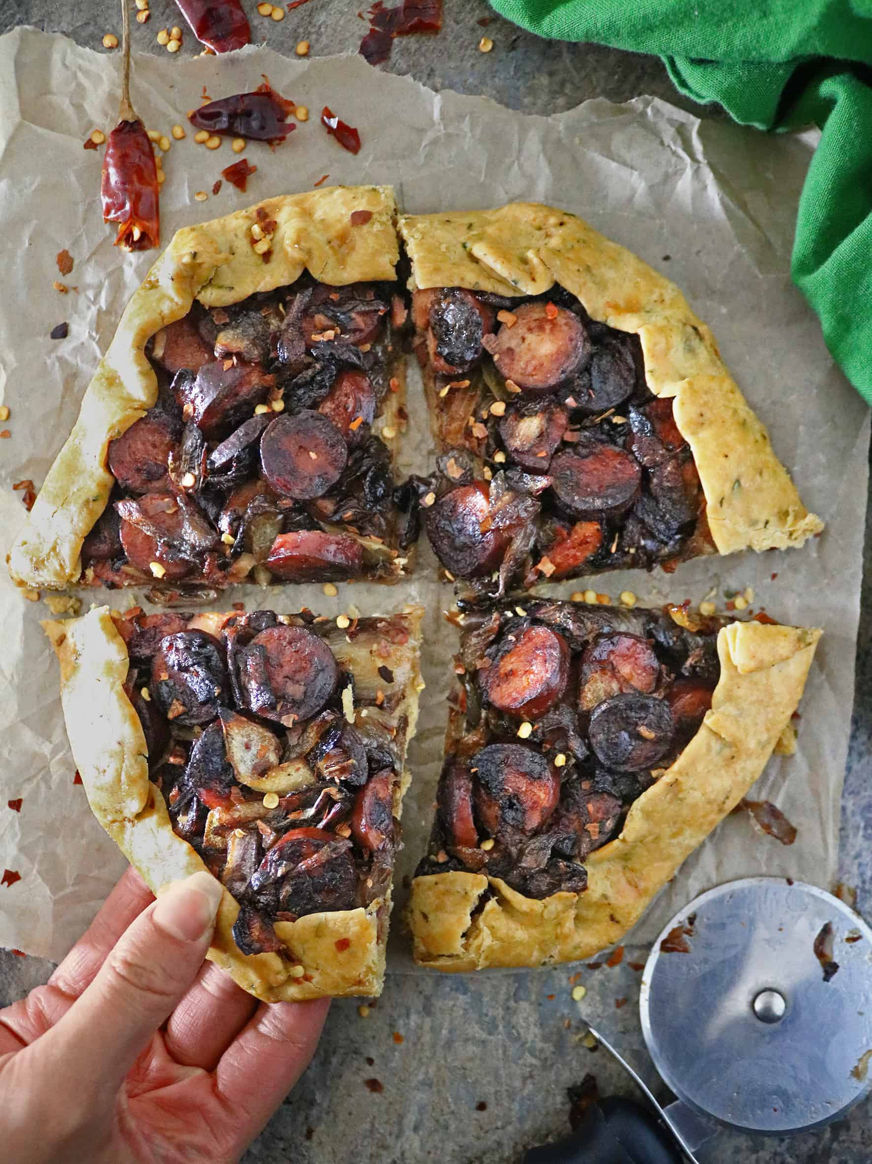 Easy Rustic Onion Sausage Tart - Delicious dinner idea or snack idea