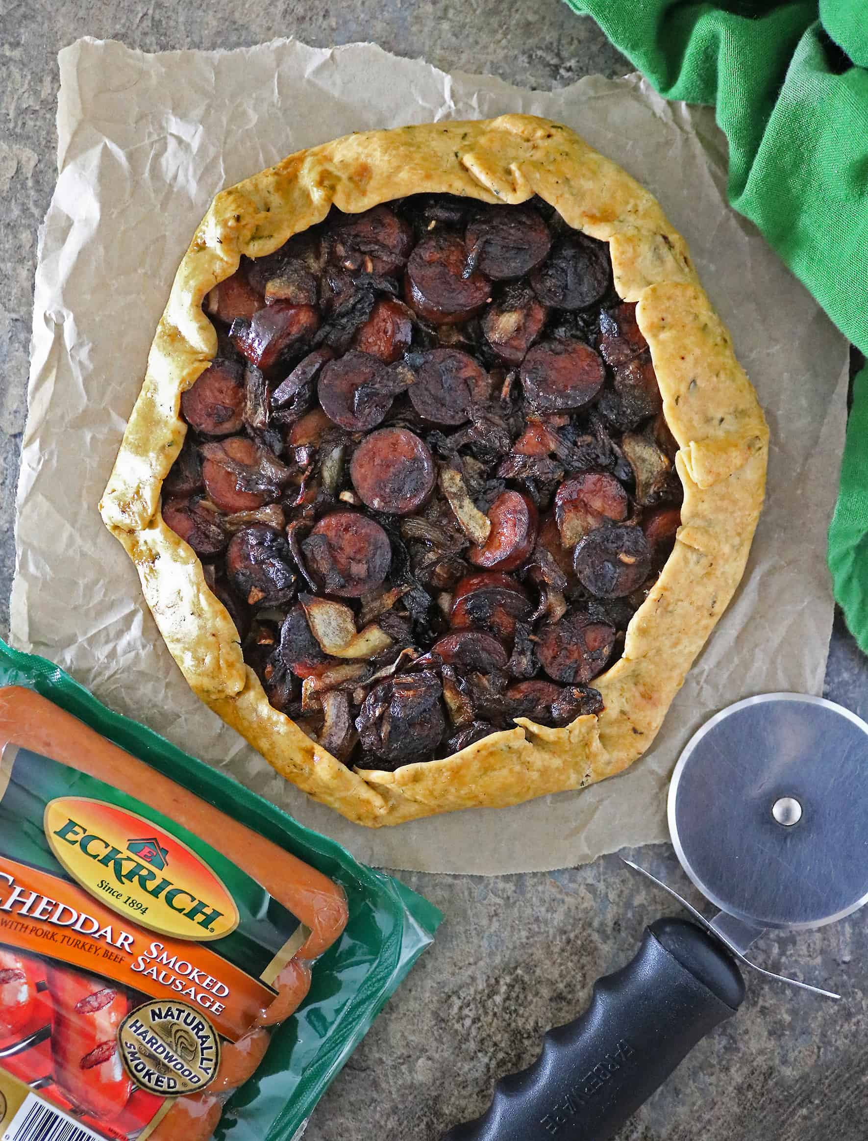Onion Sausage Tart Recipe With Eckric Cheddar Smoked Sausage Links