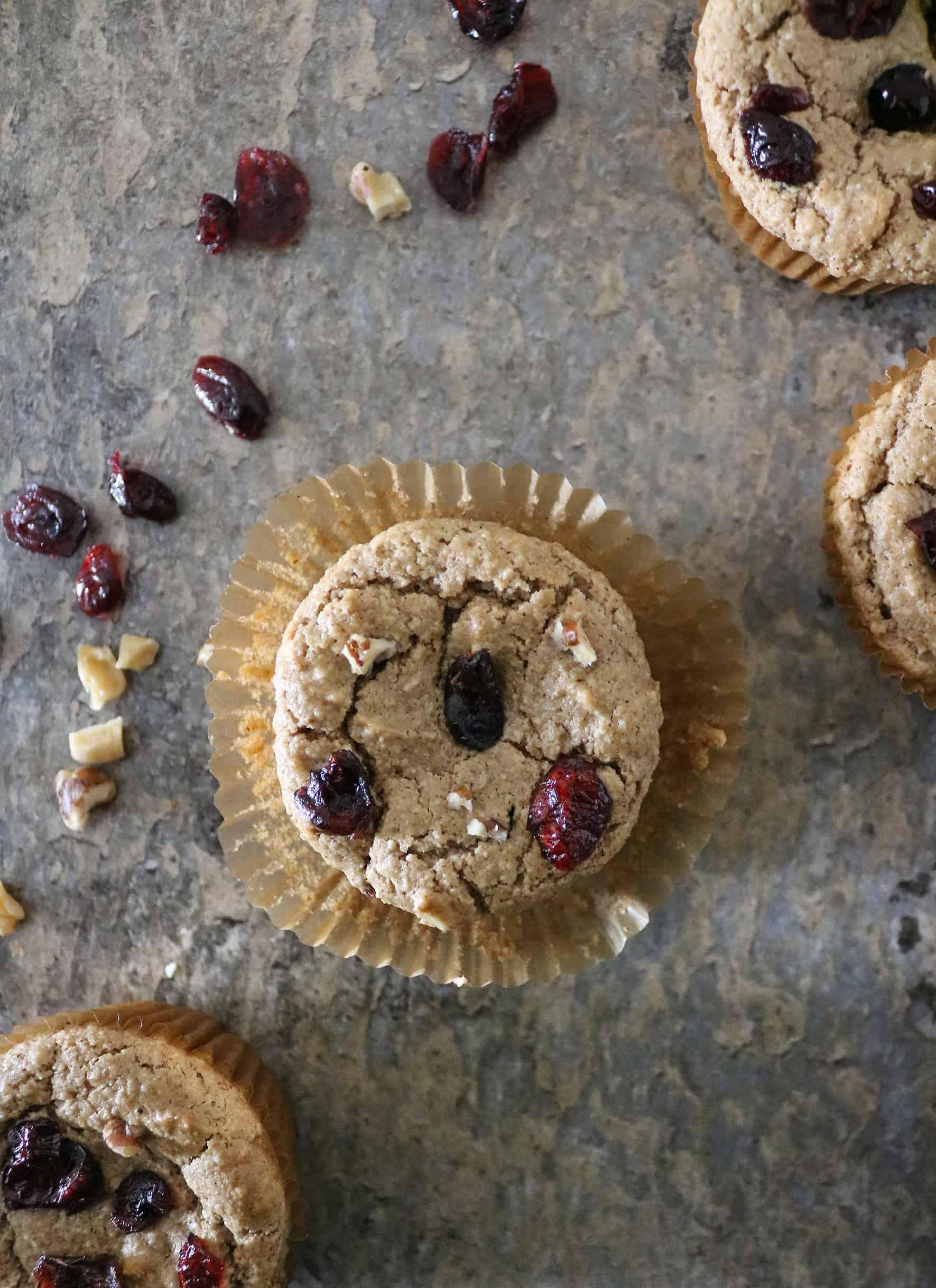 Plant-Based Vegan Cranberry Walnut Muffins
