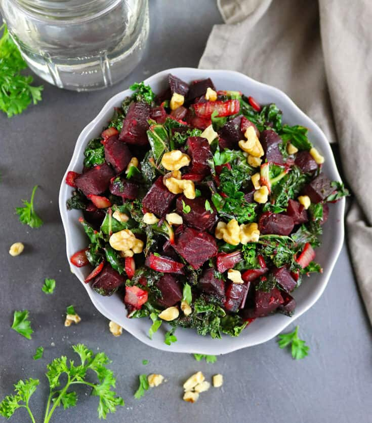 Warm Ginger Beet Kale Salad with Walnuts and Parsley
