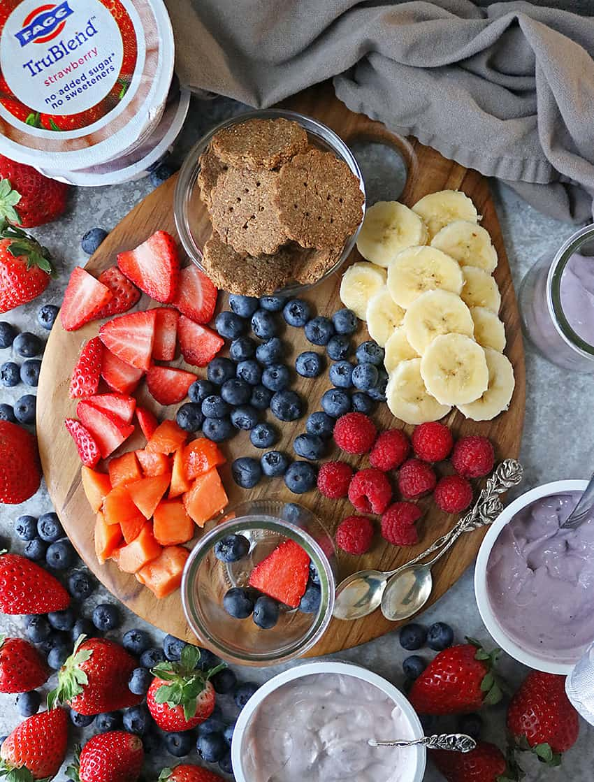 Fruits and Cracker Board With Fage TruBlend