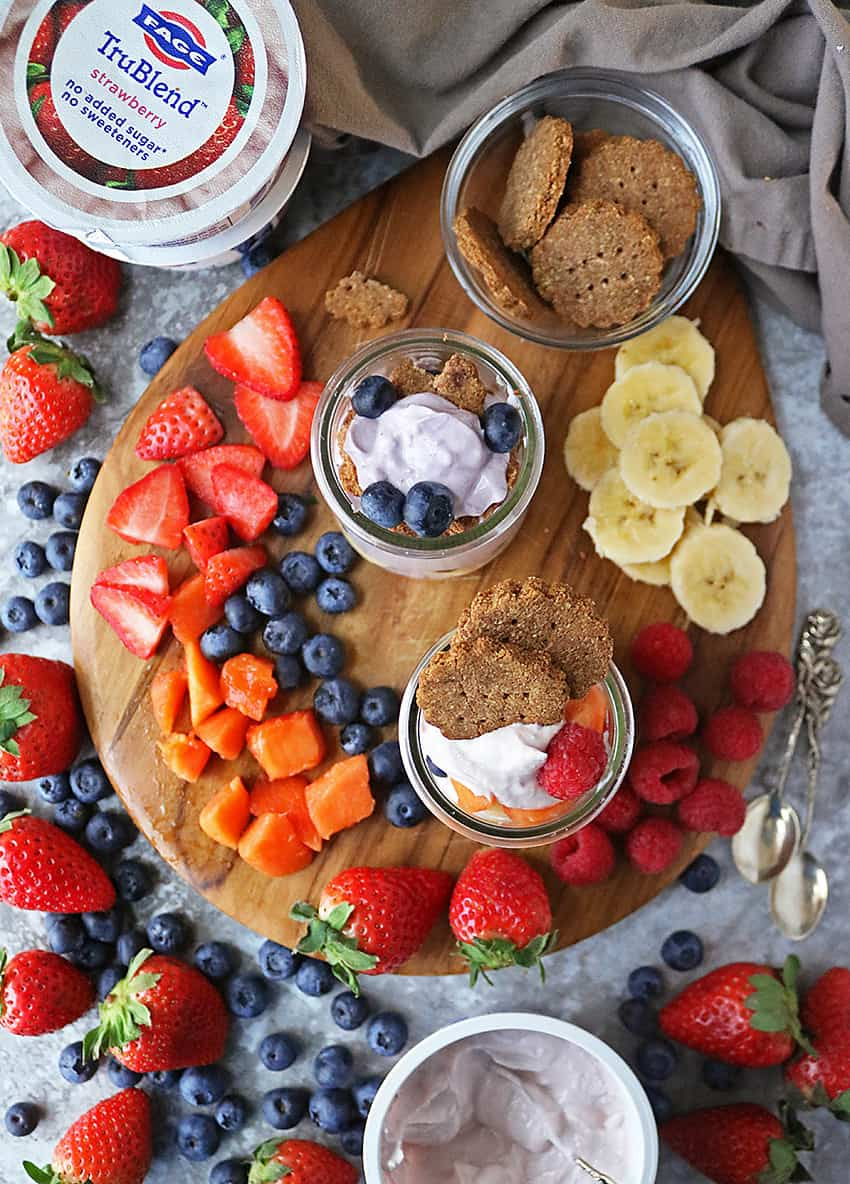 Fruit & Cracker Snacks With Fage TruBlend on a platter