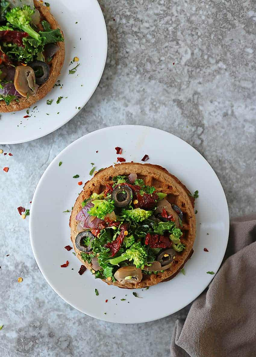 Healthy Gluten Free Waffle Pizzas for dinner