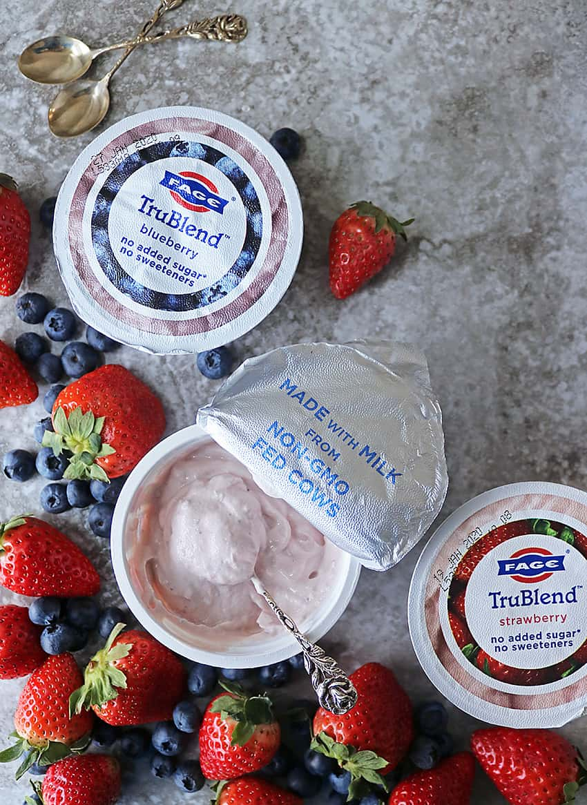 3 containers of No Sugar Added Fage TruBlend