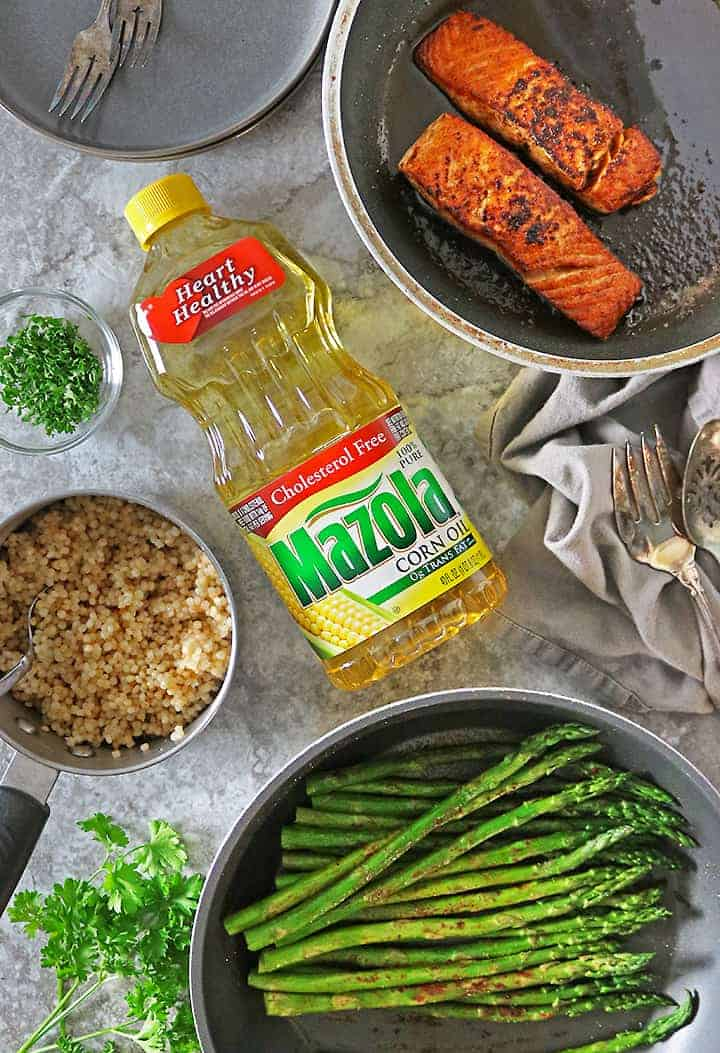 Harissa Salmon Dinner with Heart Healthy Mazola Corn Oil