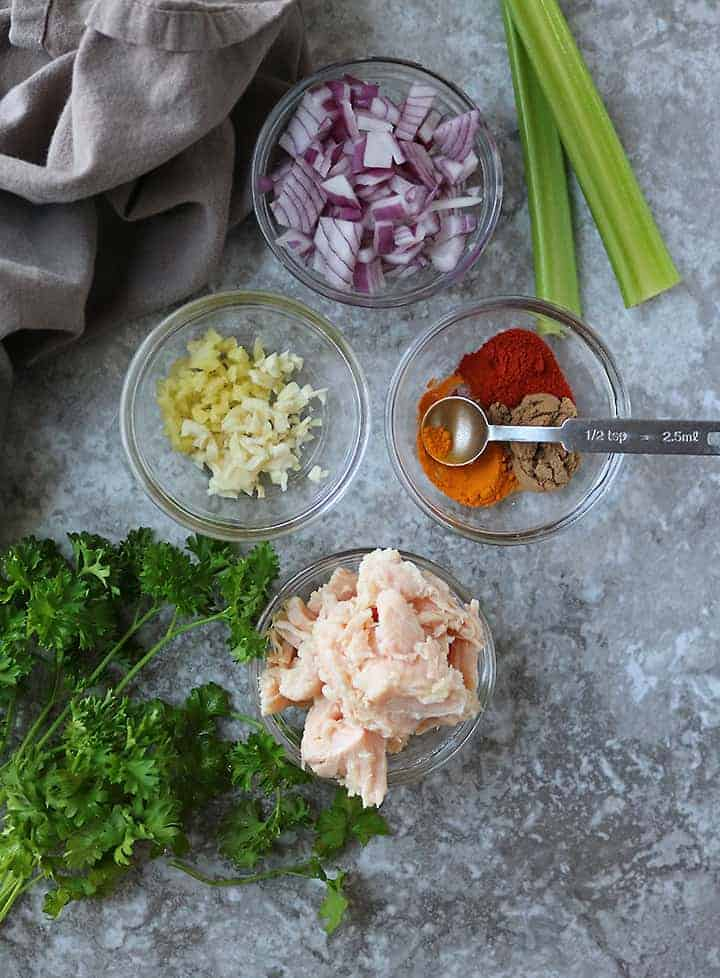 Ingredients To Make Easy Warm Chicken Salad.
