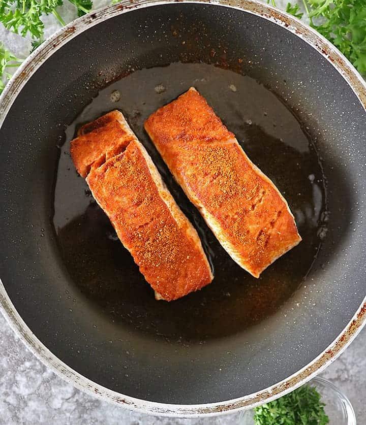 Making Heart Healthy Harissa Salmon on stove top