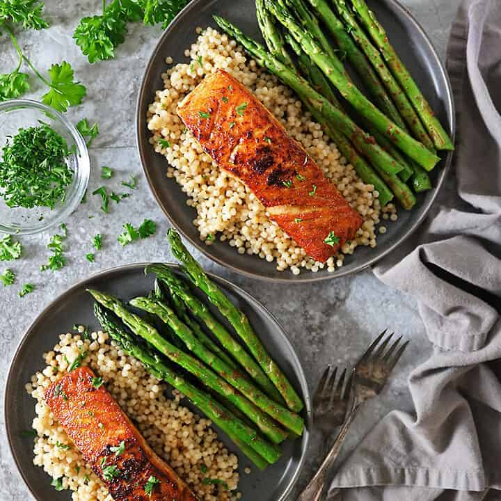 Easy Harissa Salmon with Asparagus and Israeli Couscous